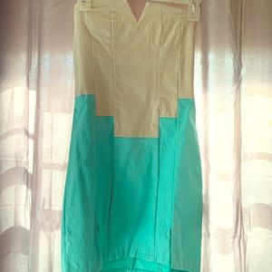 Cream and turquoise strapless dress